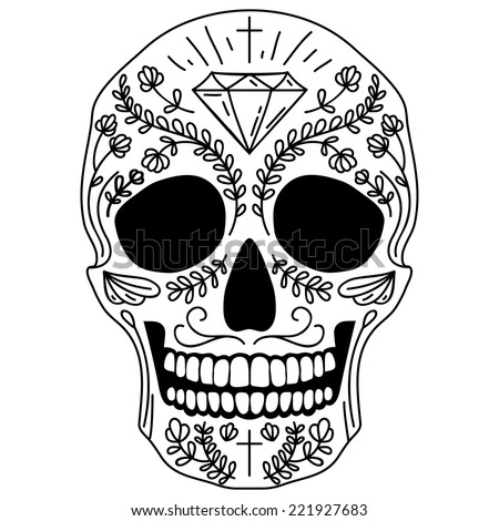 Black and white vector isolated Mexican sugar skull human head - stock vector