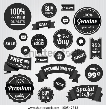 Black and White Vector Labels Badges Stickers and Ribbons - stock vector