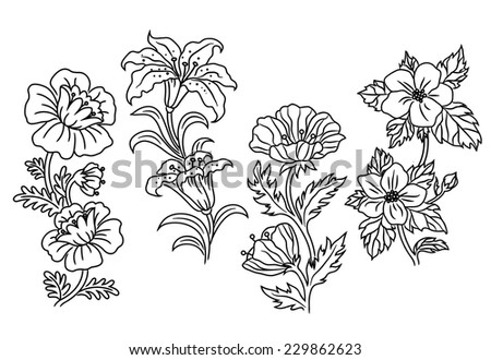 Black and white vector outline summer flowers shower different species each with two blooms to a stem - stock vector