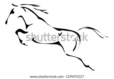 black and white vector outlines of jumping horse - stock vector