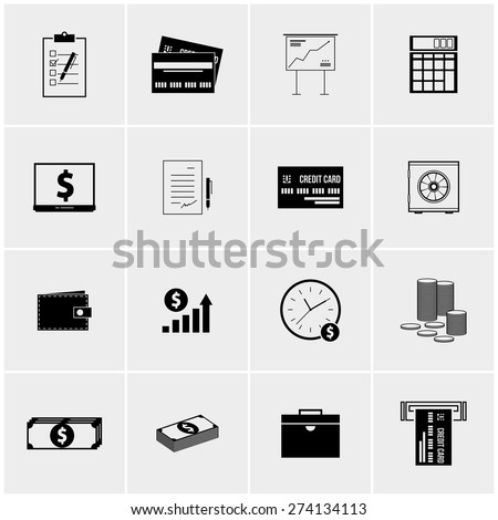 Black and white vector set of minimalist icons - stock vector