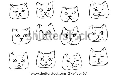 black and white vector sketch beautiful cat muzzle - stock vector