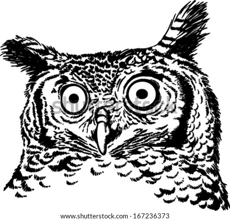 Black and white vector sketch of an owl (African Spotted Eagle Owl) - stock vector
