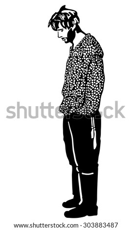 black and white vector sketch of an unshaven man standing and looking - stock vector