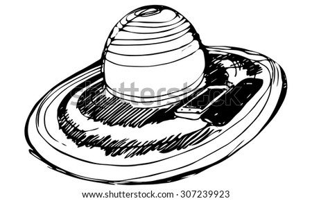 black and white vector sketch of female beach hat and two smartphonesh - stock vector