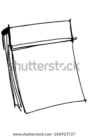 black and white vector sketch paper tear-off calendar - stock vector