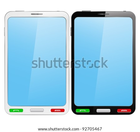 Black and white vector smartphones on white background - stock vector