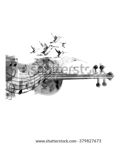 Black and white violoncello with hummingbirds  - stock vector
