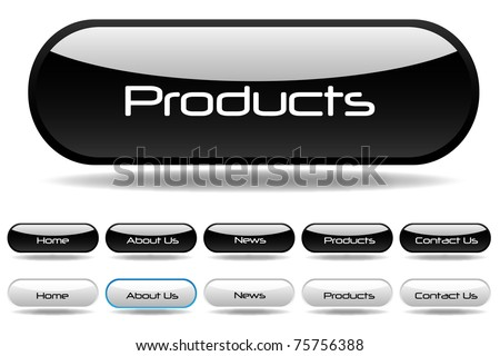 Black and white web buttons - stock vector