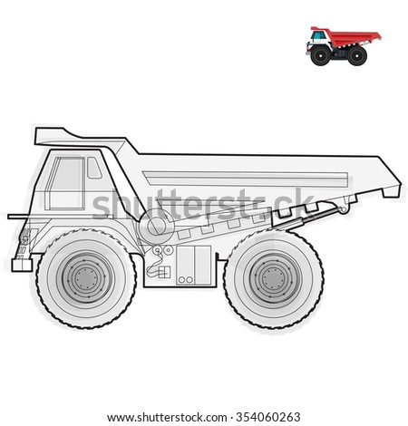 Black and white wire big truck builds roads on white Digging of sand, coal, waste rock and gravel on white Black and white construction tools flatten illustration master vector icon equipment element - stock vector
