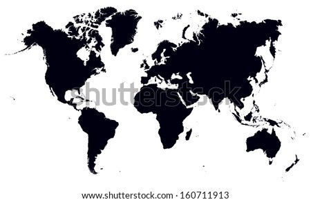 black and white world map - stock vector