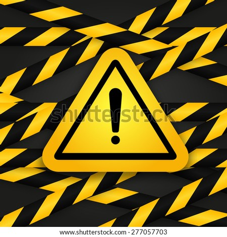 Black and yellow caution striped tapes with yellow hazard warning attention sign on black background. Vector illustration. - stock vector