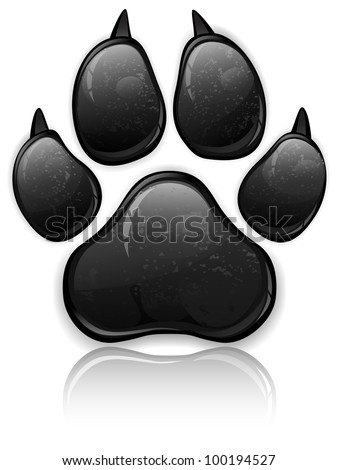 Black animal paw print isolated on white, vector illustration - stock vector