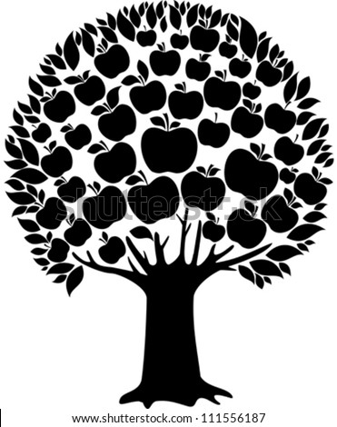 Black apple tree isolated on White background. Vector illustration - stock vector