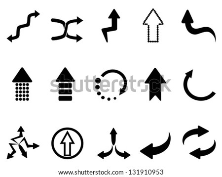 black arrow icons set - stock vector