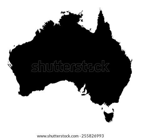 Black Australia map on white background - stock vector