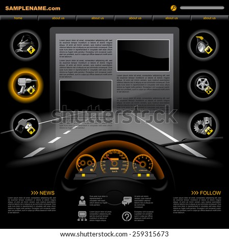 Black automobile Service Website design template with dashboard, night road, service and repair related icons. Vector illustration - stock vector