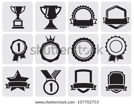 black award set - stock vector