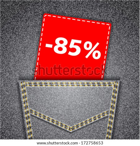 Black back jeans pocket realistic denim texture with number percent sale tag - stock vector