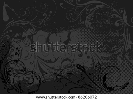 Black background.Black abstract floral background design.Object with clipping path.Each of elements can easily regroup. - stock vector