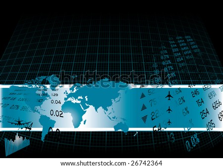 Black background with a financial theme and world map - stock vector