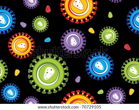 black background with colorful hiv virus pattern, vector illustration - stock vector