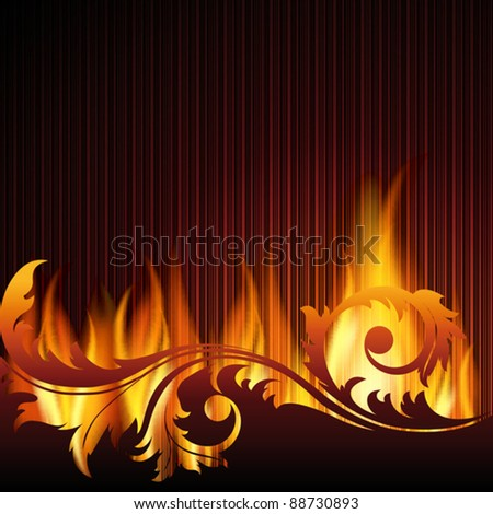 Black background with flame.EPS10. Mesh. - stock vector