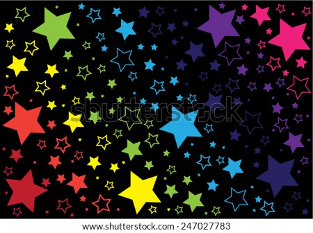black background with rainbow stars - stock vector