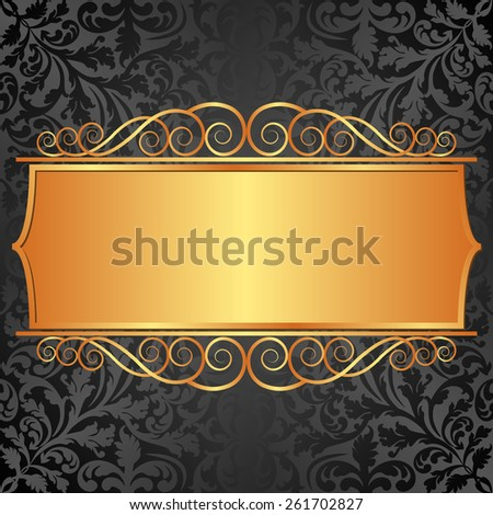 black background with vintage banner - stock vector