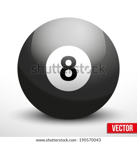 black ball sphere for billiards and pool. Vector Illustration. - stock vector
