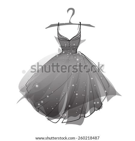 Black ballet dress, vector - stock vector