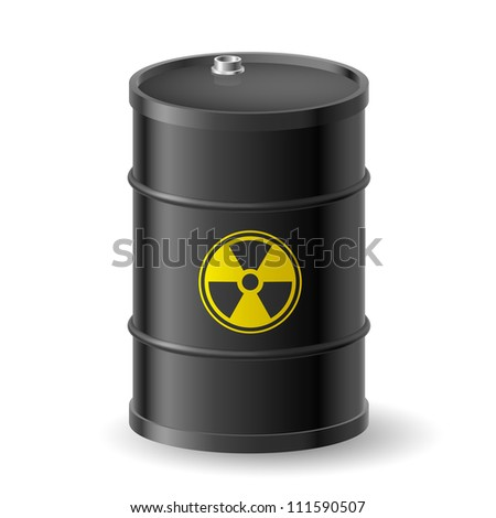 Black Barrel with a Radioactive Warning label - stock vector