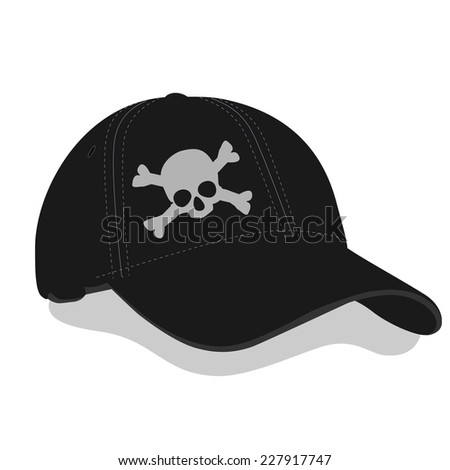Black baseball cap, black cap, skull, black baseball cap vector - stock vector
