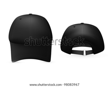 Black baseball cap template. Front and rear views. - stock vector