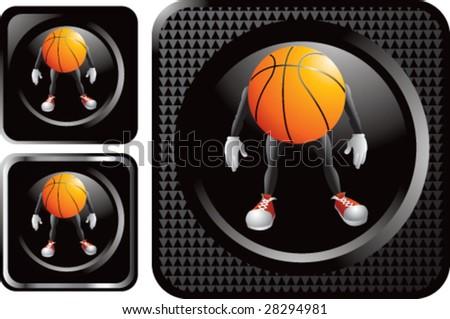 black basketball man web button - stock vector