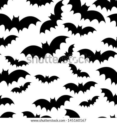 black bat seamless pattern on white - stock vector