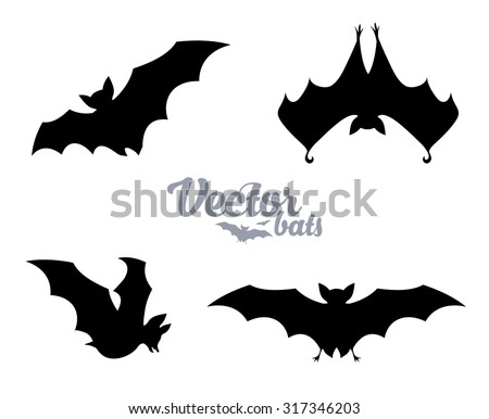 Black bats silhouettes vector set - stock vector