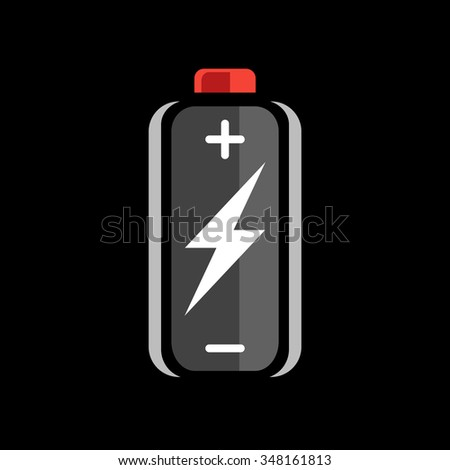 Black battery charge icon. charged sign. Charging symbol. Battery on black background. Vector illustration. - stock vector