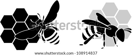 black bee silhouette isolated on white background - stock vector