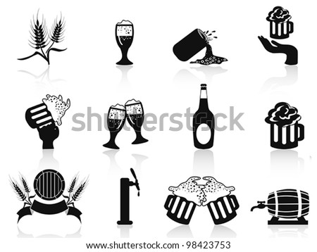 black beer icons set - stock vector