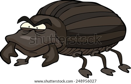 Black beetle on a white background vector illustration - stock vector