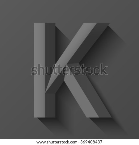 Black bevel font letter K, vector - stock vector