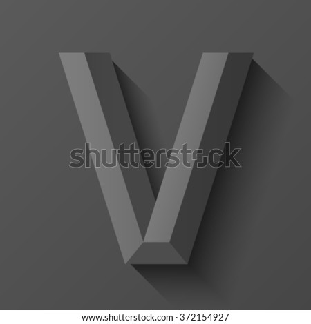 Black bevel font letter V, vector - stock vector