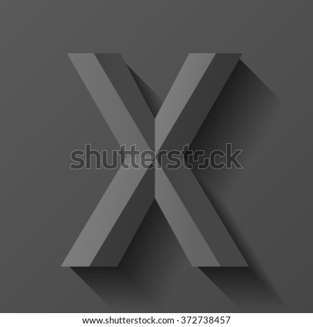 Black bevel font letter X, vector - stock vector