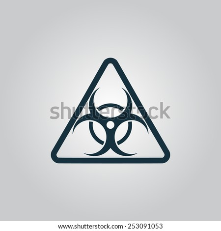 Black biohazard Flat web icon, sign or button isolated on grey background. Collection modern trend concept design style vector illustration symbol - stock vector
