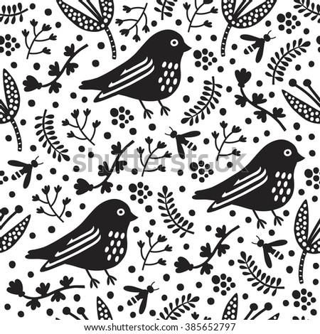 Black bird seamless pattern. Vector illustration. Cloth design, wallpaper, wrapping. - stock vector