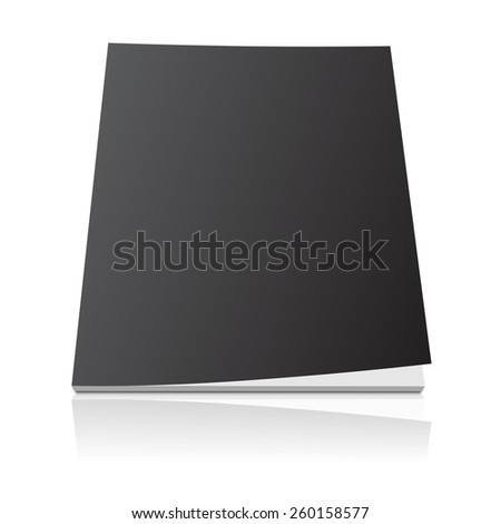 Black blank magazine template cover with curled corner and reflection effect on white background. - stock vector