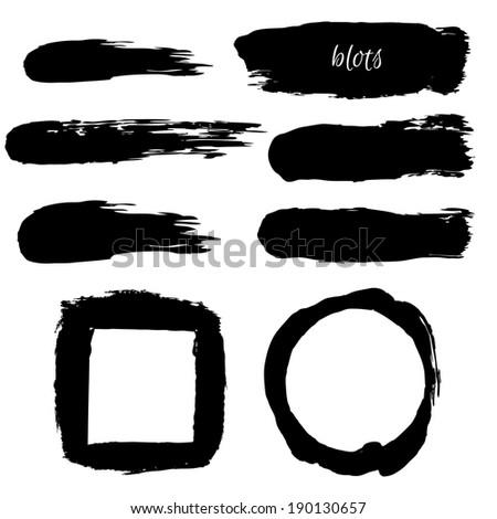 Black Blobs Set, Vector Illustration - stock vector
