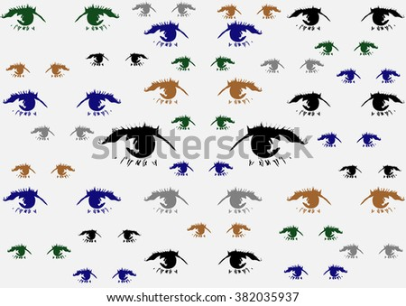 black,blue,green and brown eyes on white background - stock vector