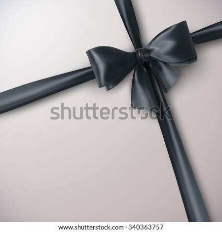 Black Bow And Ribbon. Vector Holiday Illustration. Decoration Element For Design  - stock vector